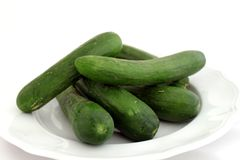 Cucumbers. Some Cucumbers on a plate Stock Photography