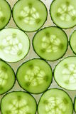 Cucumbers. Many circles of fresh cucumber for background Royalty Free Stock Images