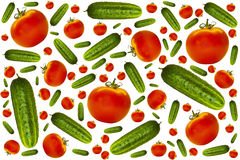 Cucumbers. Ripe juicy cucumbers and tomatoes on a white background stock photography