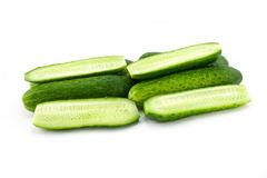 Cucumbers. Green cucumbers isolated on white Stock Photos