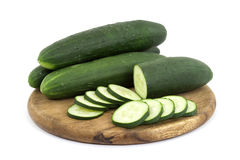Cucumbers. Raw cucumbers vegetable studio isolated Royalty Free Stock Photography