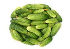 Cucumbers. Green cucumbers on a white background Stock Photo