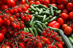 Cucumbers And Tomatos - Fresh From The Market Stock Photography