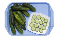 Cucumbers on a blue tray Royalty Free Stock Image