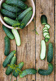 Cucumbers on the board Royalty Free Stock Photography