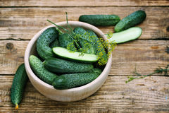 Cucumbers in a bowl Stock Images