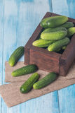 Cucumbers in a box. On blue wooden background Royalty Free Stock Photo