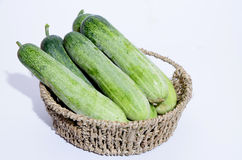Cucumbers in a box. Fresh cucumbers in a box on white Stock Photography
