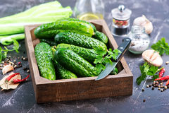 Cucumbers. In box and on a table Royalty Free Stock Photo