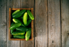 Cucumbers in a box on wooden background. Cucumbers in a box on a wooden background Stock Photo