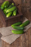 Cucumbers in a box. On a wooden background Royalty Free Stock Photo