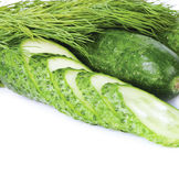 Cucumbers and clove of cucumber, dill Royalty Free Stock Images