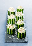 Cucumbers with cottage cheese Royalty Free Stock Images