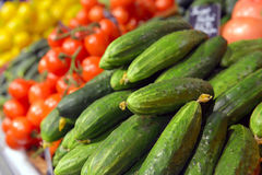 Cucumbers on display Royalty Free Stock Photography