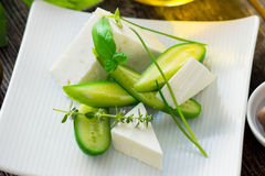 Cucumbers and feta cheese Royalty Free Stock Photo