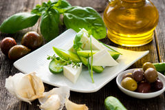 Cucumbers and feta cheese Royalty Free Stock Images