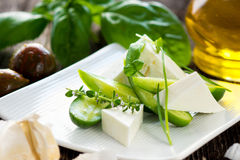 Cucumbers and feta cheese Royalty Free Stock Image