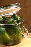 Cucumbers. Fresh cucumbers in the jar Royalty Free Stock Image