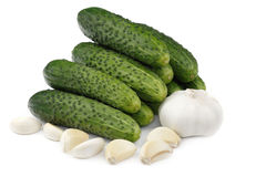 Cucumbers and garlic Royalty Free Stock Images