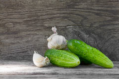 Cucumbers and garlic Royalty Free Stock Photos