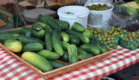 Cucumbers and grapes at a Market Stock Photography