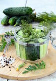 Cucumbers in the jar with dill salt and pepper Royalty Free Stock Images