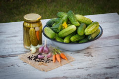 Cucumbers in metal bowl, vegetables and spices for pickling and jar pickled cucumbers Stock Images