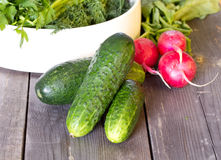 Cucumbers on old wooden boards and a plate with parsley, dill and leek Royalty Free Stock Photography