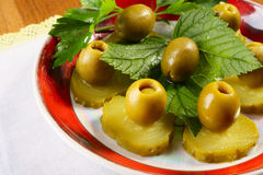 Cucumbers and olives Stock Photo