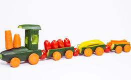 From cucumbers and other vegetables carved train Royalty Free Stock Photo