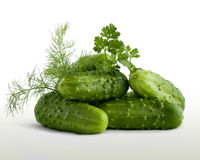 Cucumbers and parsley on a white background Royalty Free Stock Photo