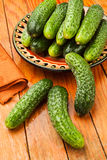 Cucumbers plate Stock Photo