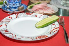 Cucumbers at plate Royalty Free Stock Photo