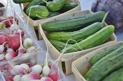 Cucumbers and radishes displayed for sale Stock Photo