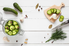 Cucumbers ready for pickling and ingredients on white table. Stock Image