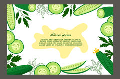 Cucumbers. Ripe cucumbers. Brochure. Food design template. Great for design of healthy lifestyle or diet.Vector illustration Royalty Free Stock Photos