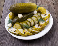 Cucumbers slices in a plate Royalty Free Stock Photos