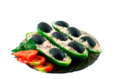 Cucumbers stuffed with black olives Stock Photo