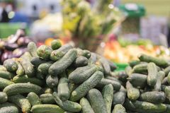 Cucumbers in supermarket. Fresh cucumber lying in boxes. Top view. Mock up.Copy space. Selective focus. Summer vegetables. Vegetab