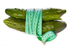 Cucumbers tied with centimeter Stock Photography