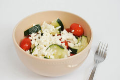 Cucumbers Tomato and Feta Salad Royalty Free Stock Photos