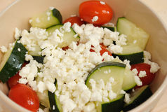 Cucumbers Tomato and Feta Salad Stock Photo