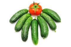 Cucumbers and tomatoes Stock Photography