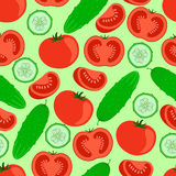 Cucumbers and tomatoes. Bright seamless pattern. Vector illustration stock illustration