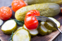 Cucumbers and tomatoes salty  table Royalty Free Stock Images