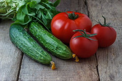 Cucumbers and tomatoes on a wooden background.  Stock Images
