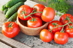 Cucumbers and tomatoes Stock Image