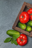 Cucumbers and Tomatoes in wooden box. Arrangement of Raw  Cucumbers and Tomatoes in wooden box on black stone background, top view Royalty Free Stock Photo