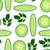 Cucumbers. Vector seamless pattern with ripe cucumbers. Great for design of healthy lifestyle or diet. For wrapping paper, textiles and other food designs.Vector Royalty Free Stock Images