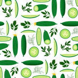 Cucumbers. Vector seamless pattern with ripe cucumbers. Great for design of healthy lifestyle or diet. For wrapping paper, textiles and other food designs.Vector Stock Photography